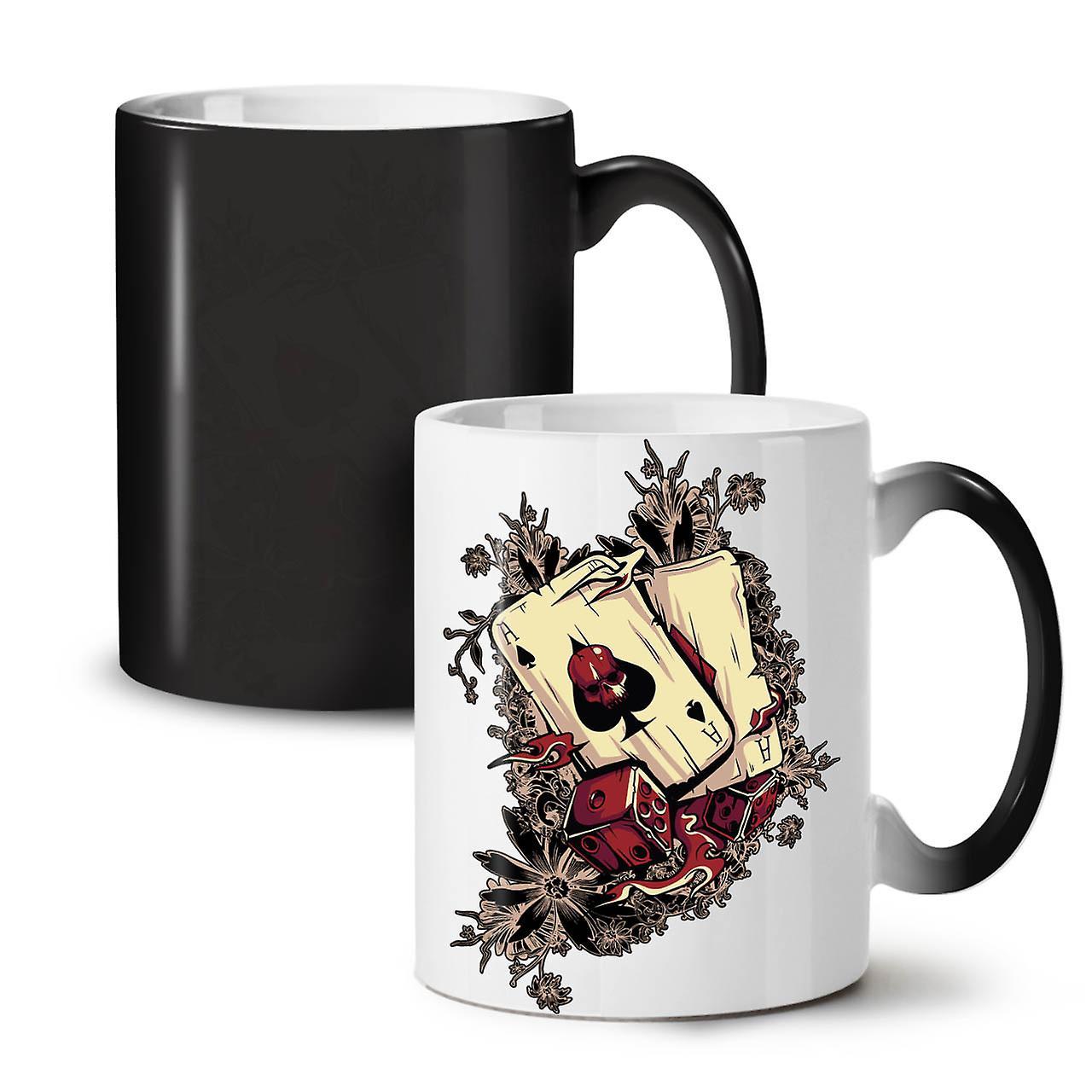 New OzWellcoda Colour 11 Gamble Changing Poker Coffee Player Tea Mug Ceramic Black rQBedCWEox