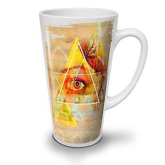 Triangle Eye Star NEW White Tea Coffee Ceramic Latte Mug 17 oz | Wellcoda