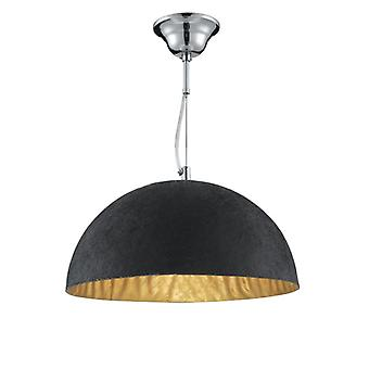 Black Half-dome Pendant With Gold Finish Inner - Searchlight 8149go