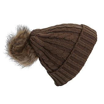 Womens/Ladies Cable Knit Winter Beanie Hat With Faux Fur Pom Pom