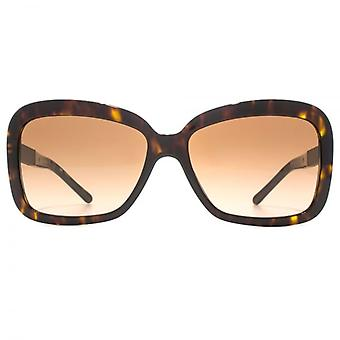Burberry Square Stripe Temple Sunglasses In Dark Havana