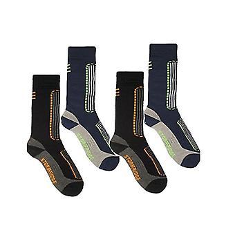Storm Ridge Mens 4 Pack Ski Socks UK 7-11 Black & Blue