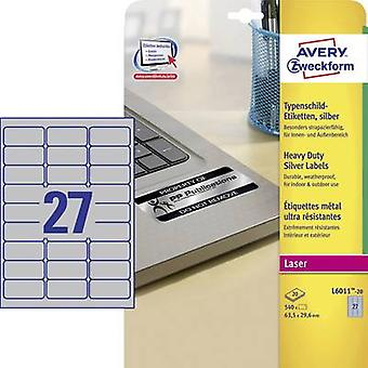 Avery-Zweckform L6011-20 Labels (A4) 63.5 x 29.6 mm Polyester film Silver 540 pc(s) Permanent Nameplates Laser, Copier