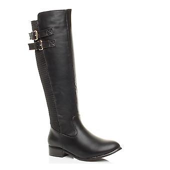 Ajvani Womens low Heel Zip Stretch Schnalle breite Winter Kalb Knie Reiten Biker-boots