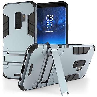 Samsung Galaxy S9 Plus Armour Kickstand Case - staal blauw