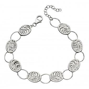 Elements Silver Oval Wave Cut Out Bracelet - Silver/Clear