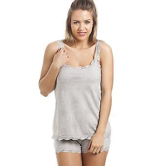 Camille Grey Cotton Short And Vest Pyjama Set