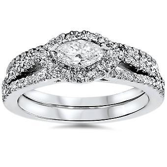 1 1 / 4ct Marquise Halo Split skaft Diamond Engagement vigselring Set vitguld