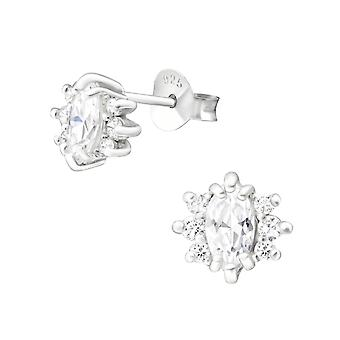 Sparkling - 925 Sterling Silver Cubic Zirconia Ear Studs - W36643X