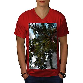 Palm Leaves Photo Men RedV-Neck T-shirt | Wellcoda