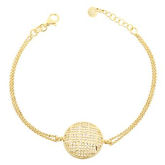 Orphelia sølv 925 armbånd guld dobbelt kæde cirkel ZA-7189/G