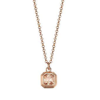 ESPRIT women's chain necklace silver Rosé cubic zirconia Pico rose ESNL93208C420