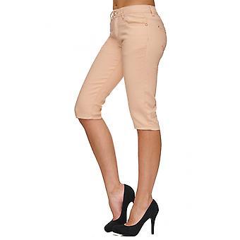 Women's Chino Capri Shorts 3/4 Long Fabric Trousers Hipsters Knielang Bermuda Stretch