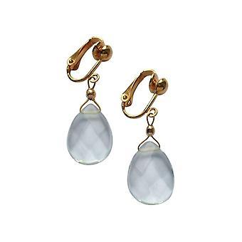 Gemshine - damer - øreringe - Øreringe - gold kvarts - dråber - akvamarin - facetteret 2,5 cm - blå-