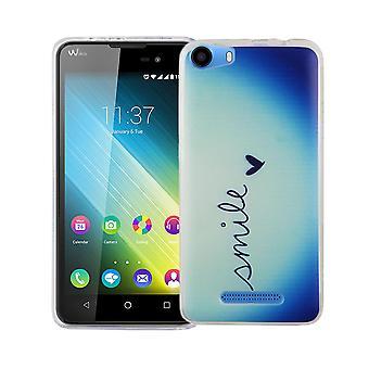 Caja móvil para adorno de bolsa protectora caso cubierta WIKO Lenny 2 slim TPU + armadura sonrisa de protección vidrio 9 H Letras Blau