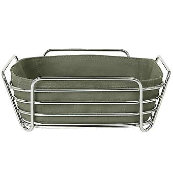 Bread basket large steel wire chrome cotton insert Agave Green
