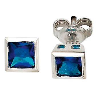 Ear plug square 925 sterling silver rhodium plated 2 cubic zirconia earrings blue