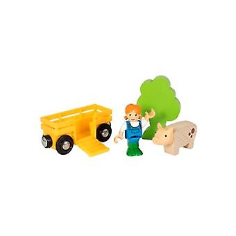 BRIO Farm Girl Play Kit 33875 supplementare vagone ferroviario in legno e ragazza dell'azienda agricola