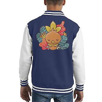 Pokemon Sleeping Torchic Kid's Varsity Jacket