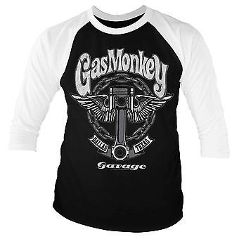 Gas Monkey Garage T Shirt Big Piston Official Mens Black Baseball 3/4 Sleeve