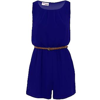 Ladies Chiffon Pleated Belted Sexy Sleeveless Lined Zip Back Smart Playsuit