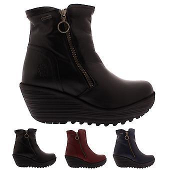 Mujeres volar Londres yema Mousse trabajo invierno cuña tobillo botas de cuero tacón