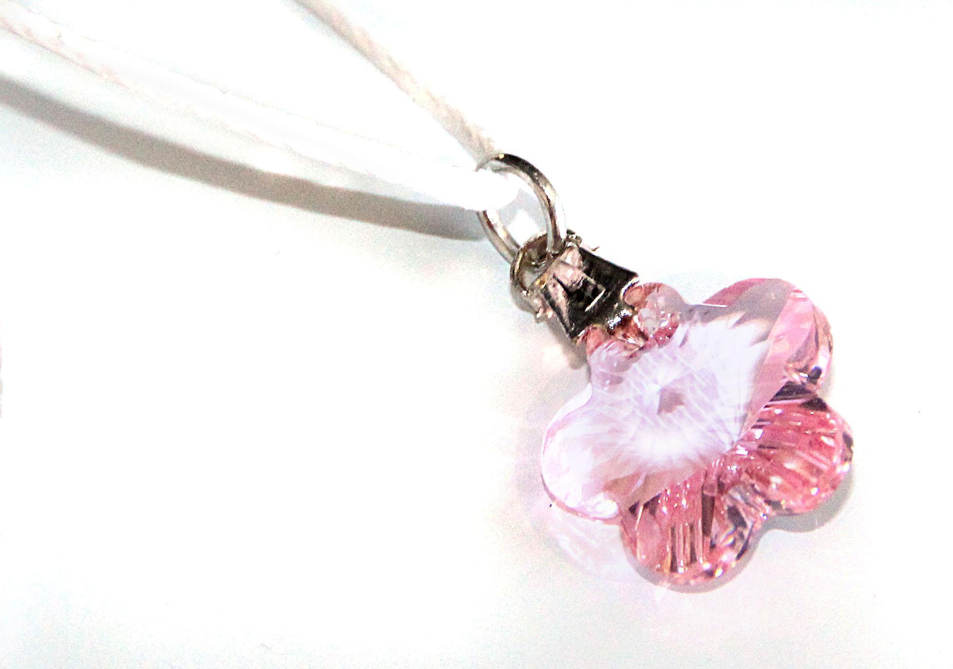Waooh - smycken - Swarovski / rosa blomma och vaxad sladd hängande