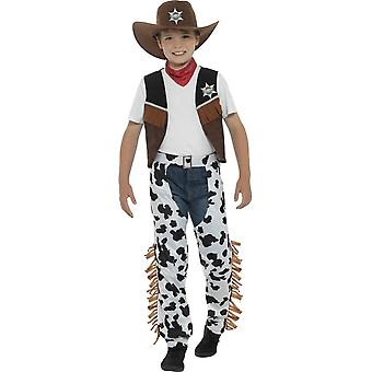 زي رعاة البقر في تكساس، براون، مع قبعة، العنق التعادل، صدرية، شارة & الفصول