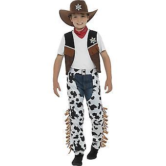 Texan Cowboy drakt, brun, med lue, hals Tie, vest, merke & Chaps