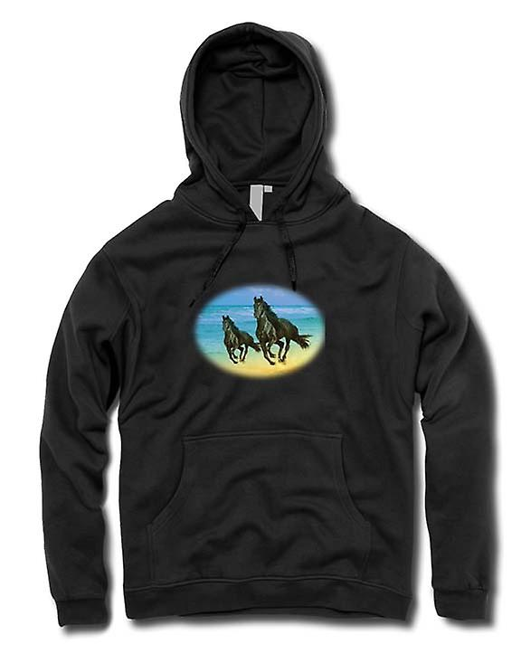 Mens Hoodie - Galloping Horses On The Beach