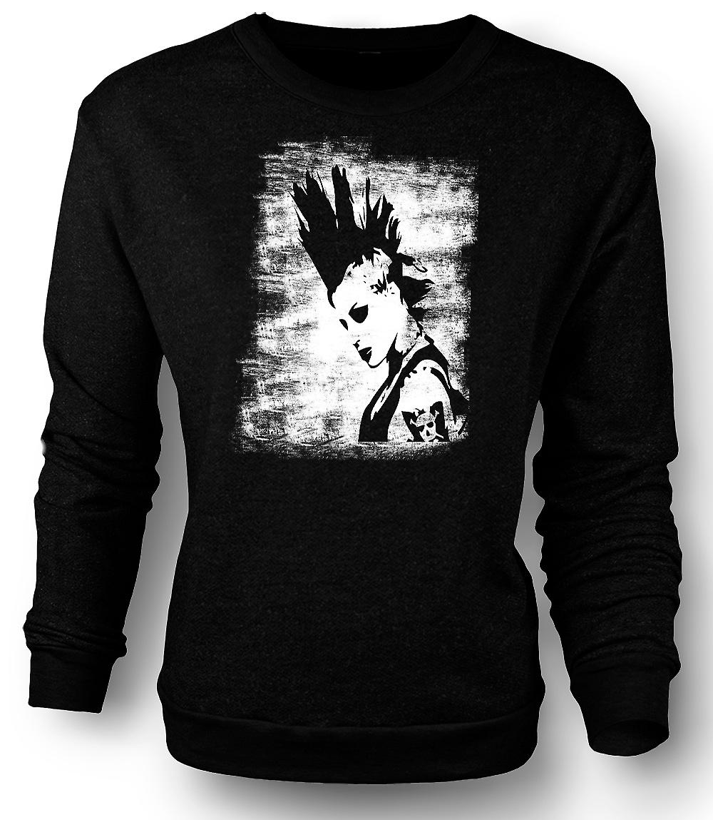 Mens Sweatshirt Punk Rocker Mohican Girl - BW - Pop Art