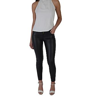 Lovemystyle Black Leather Look Black High Waisted Jeans