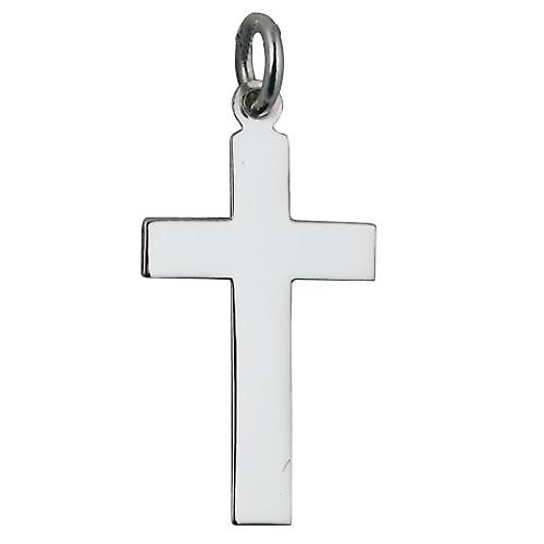9ct White Gold 24x14mm plain flat latin Cross
