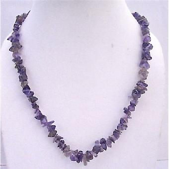 Amethyst Nugget Long Necklace 36 Inches Necklace Jewelry