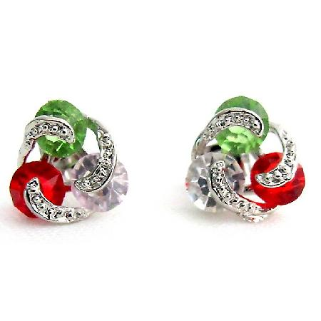 Red Green CZ Stud Earrings Christmas Earrings Rhinestones Cute Gift