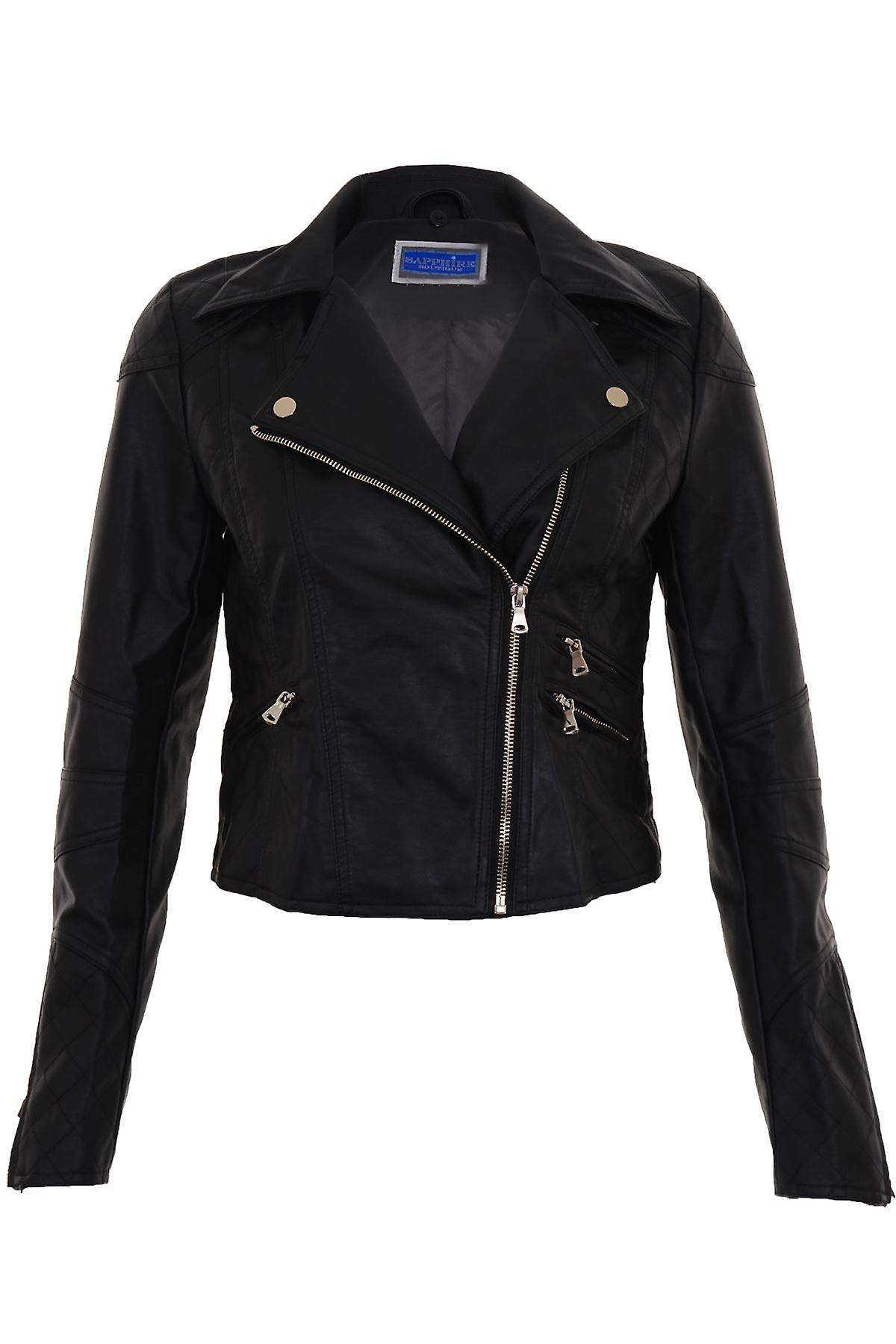 Ladies Detachable Faux Fur Collar Women's Crop Synthetic Leather Biker Jacket