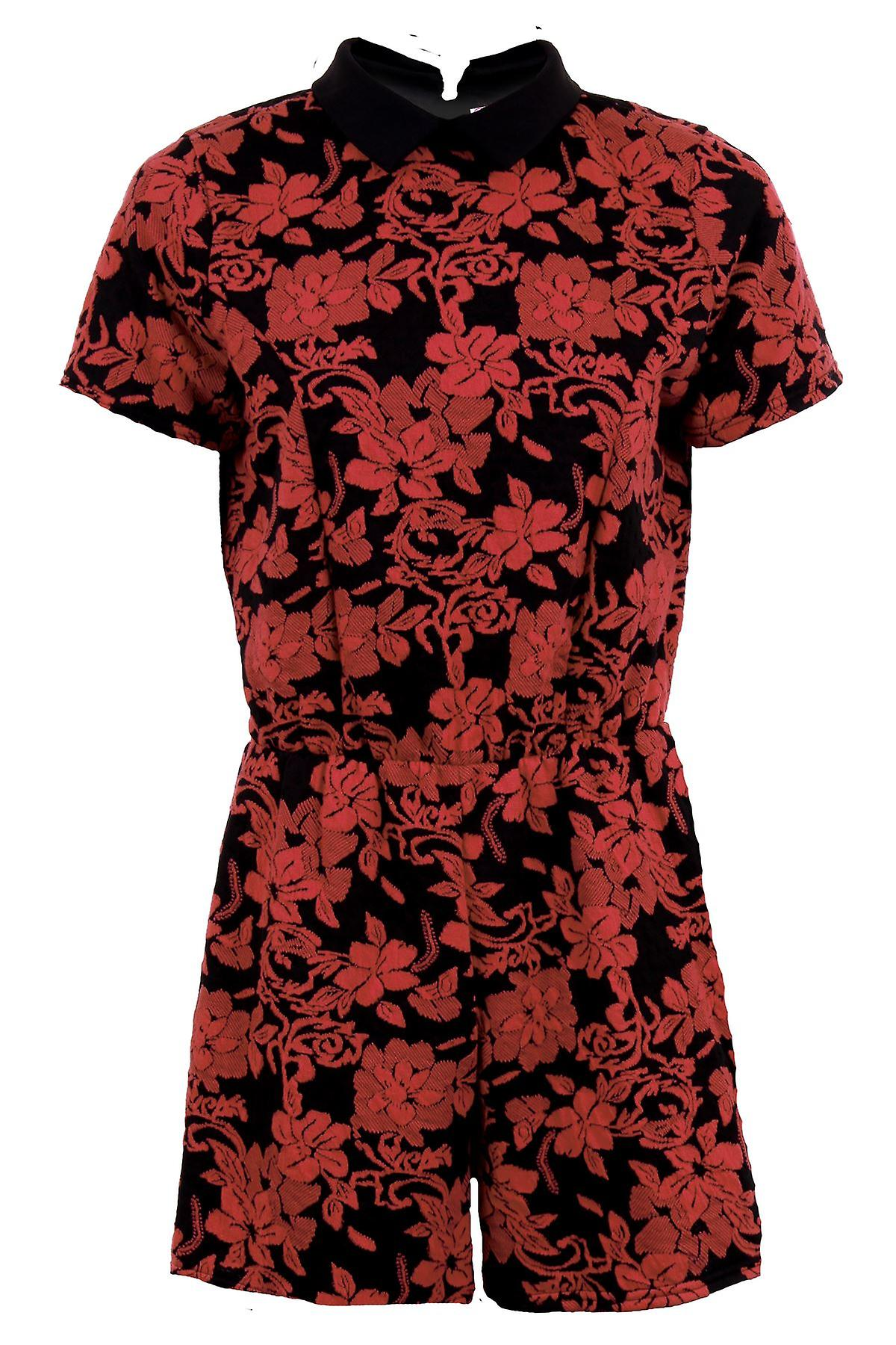 Ladies Short Sleeve Peter Pan Collar Floral Embossed Embroided Women's Playsuit