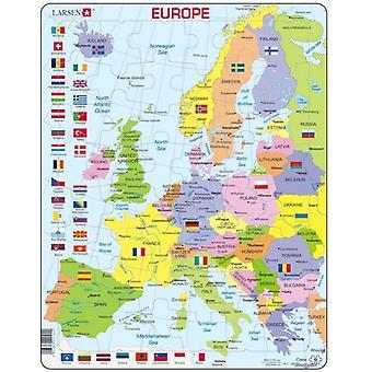 Karte von Europa mit Fahnen, Portrait - Rahmen/Board Jigsaw Puzzle 29 x 37 cm (LRS K2-GB)