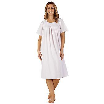 Slenderella ND3256 Women's Cotton Woven Pink Night Gown Loungewear Nightdress