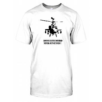Apache Silhouette - Always Outnumbered, Never Out Gunned! - Combat Helicopter Kids T Shirt