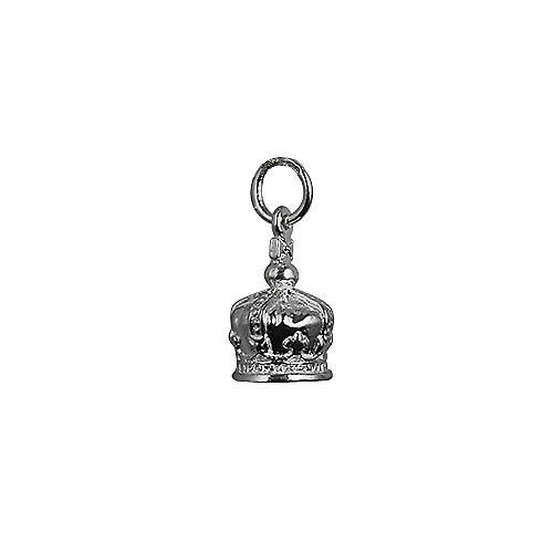 Silver 12x10mm Royal Crown Pendant or Charm