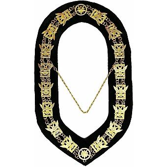 32nd Degree - Scottish Rite Wings UP Chain Collar - Gold/Silver on Black + Free Case