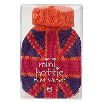 Mini Hottie Knitted Cover Gel Hand Warmer: Pink Union Jack