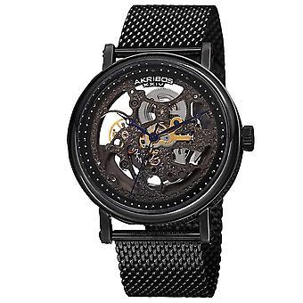 Akribos XIV Men's Mesh Stainless Steel Automatic Black Bracelet Watch AK732BK