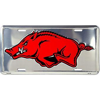 Arkansas Razorbacks NCAA Silver Mirror License Plate