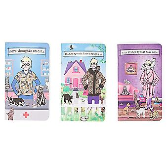 Archie McPhee Crazy Cat Lady Notebooks Set of 3