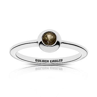 Oral Roberts University Golden Eagles Engraved Light Smokey Quartz Ring