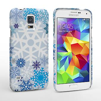 Caseflex Samsung Galaxy S5 Winter Christmas Snowflake Hard Case White and Blue