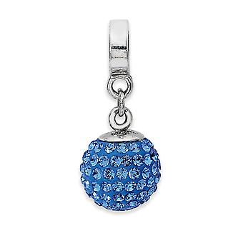 925 Sterling Silver Polished Reflections Sept Crystal Ball Dangle Bead Charm