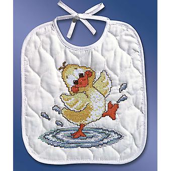 Just Ducky Bib Stamped Cross Stitch Kit 9 1 2